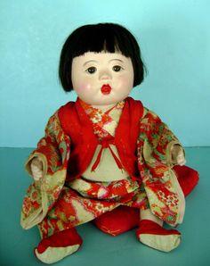 ichimatsu dolls   Vintage 1940's BIG 18 inch Japanese Gofun Ichimatsu Doll in Silk from ...