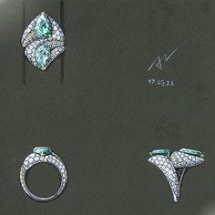 hi everybody.I hope you have a nice day.  #azilaz #ring #emerald #handsketch  #designer #jewelry #luxury #jewelrydesigner