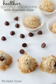 Healthier Coconut Macaroons with chocolate chips!