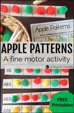 fun apple themed game that works on patterning and fine motor with FREE patterning sheets!A fun apple themed game that works on patterning and fine motor with FREE patterning sheets! Preschool Apple Theme, Fall Preschool, Math Activities, Preschool Activities, Preschool Apples, September Preschool, September Crafts, October, Animal Activities