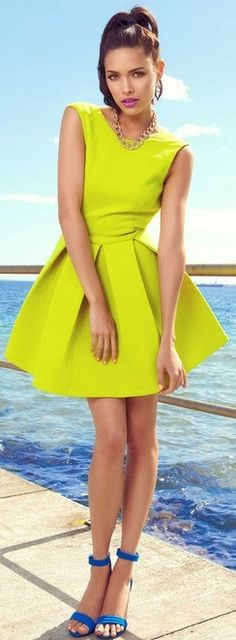 Trends: Fashion Trends Spring Summer 2013. hot yellow/green dress with blue shoes