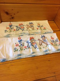 Pair of Hand Embroidered Poodle Dogs Pillowcases    21-1/2 x 31
