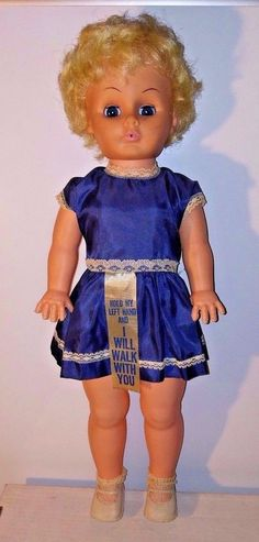 "Vtg Uneeda Doll 23"" Original Dress Walker Blonde Hair Blue Eyes #Uneeda"