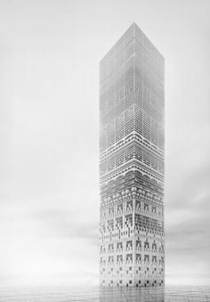 """Image 11 of 29. Honorable Mention:""""The New Tower Of Babel"""" / Petko Stoevski (Germany). Image Courtesy of eVolo"""
