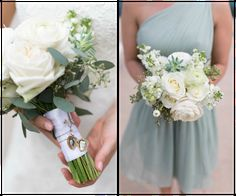 White Rose Wedding and Bridesmaid Bouquet with Succulents and Greenery | St. Pete Wedding Florist Wonderland Floral and Gift Loft