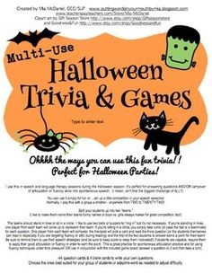 halloween trivia games 44 fun questions and a game board perfect for halloween parties