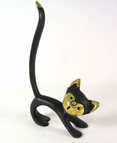 Vintage Modernist Brass Cat Ring Holder gesiggie in koper gebruik vir high lights