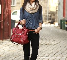 awesome casual work outfit. especially the infinity scarf.