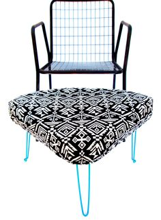 Vintage Modern Custom Triangular Footstool / Ottoman | Turquoise Hairpin Legs | Black & White Geometric Upholstery || Boho Chic Home Decor by ElectricMarigold on Etsy