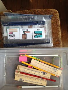 The Autism Tank: Work Task Ideas. This could be a daily task - match supply pictures to personal supply box. Life Skills Activities, Life Skills Classroom, Autism Classroom, Classroom Setup, Classroom Supplies, Math Lessons, School Supplies, Autism Education, Teaching Special Education
