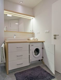 Small bathroom remodeling 627759635531521720 - meuble-pour-machine-a-laver-meuble-lavabo-tiroirs-salle-bains-blanche Source by annesocoqui Modern Small Bathrooms, Modern Laundry Rooms, Laundry In Bathroom, Bathroom Storage, Modern Bathroom, Bathroom Ideas, Modern Sink, Bathroom Updates, Bathroom Plants