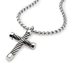 Men's Stainless Steel Cross Pendant Necklace With Cable Inlay , Necklace, SpicyIce - 2