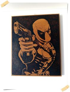 Deadpool pyrography photo for wallMDF house by WoodBurningStudio