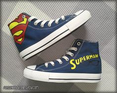 Superman Painted Shoes / Custom Converse by FeslegenDesign on Etsy