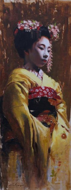 """Young Maiko"" -14"" x 36"" - Original oil painting on wood panel Phil Couture Fine Art: http://www.etsy.com/shop/PhilCoutureFineArt?ref=seller_info philcouturefineart@yahoo.com  It's actually maiko Toshimomo. And I am very impressed of your painting!"