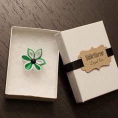 Mini lapel pin at https://www.etsy.com/listing/250840835/mini-lapel-pin-white-and-green-kanzashi