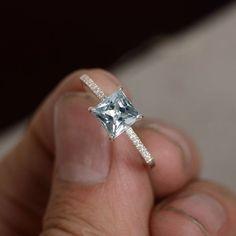 Natural aguamarina anillo plata marzo piedra por KnightJewelry