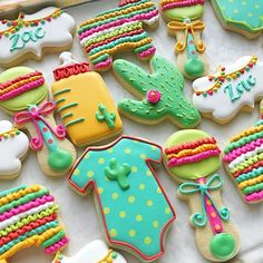 Fiesta Baby Shower cookies Mexican Theme Baby Shower, Fiesta Baby Shower, Baby Shower Themes, Baby Shower Decorations, Shower Ideas, Food Decorations, Baby Cookies, Baby Shower Cookies, Cute Cookies