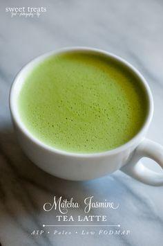 Matcha Jasmine Tea Latte  (AIP, Paleo, Low FODMAP) Matcha Tea Latte, Matcha Drink, Jasmine Green Tea, Tea Recipes, Fodmap Recipes, Paleo Recipes, Drink Recipes, Teas, Low Fodmap