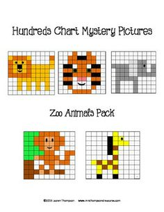 Zoo Animals Hundreds Chart Mystery Pictures - This is a set of 5 fun printable worksheets for students to practice place value and recognizing colors and numbers on a hundreds chart. Use the key to color in the boxes and reveal a hidden picture! Pictures are: -lion -tiger -elephant -monkey -giraffe