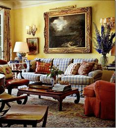 I adore this family room by Michael S. The blue and red fabrics against the yellow walls are fabulous. Formal Living Rooms, My Living Room, Living Room Decor, Cottage Living, Cozy Living, Bedroom Decor, English Country Decor, French Country Living Room, Country French