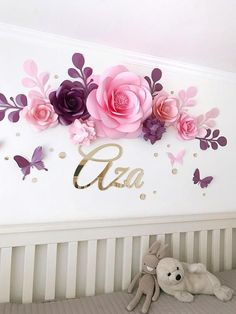 Image result for cricut paper flower wall nursery