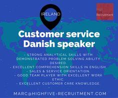 #job opportunity in #Ireland as customer service for #Danish speaker.  Send your CV (in English) at marc@highfive-recruitment.com  #customerserviceadvisor #highfiveyourjob #recruitment #hiring #career #greatjob #customerservice #highfiveyourcareer #sales #candidate #business #clientservices #success #jobinireland
