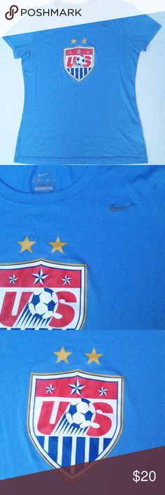 Nike US Womens National Soccer Team dri fit tshirt Ready to run or rep, this Nike dri fit tee sports the crest of the national US women's team as well as the classic Nike swoosh on front. Back bears the dri fit emblem. Women's size M. Very gently loved. Has one minor pull behind right shoulder (see pic). Feel free to ask questions! Nike Tops Tees - Short Sleeve