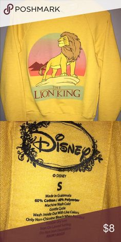 DISNEY LION KING Sweatshirt SZ S Vintage look Lion King sweatshirt from Wet Seal. Mustard color with Simba image. Sz Small. Please ask any and all questions prior to purchase. Tops Sweatshirts & Hoodies