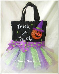 Pumpkin Witch Trick or Treat Purple Tutu Tote Bag