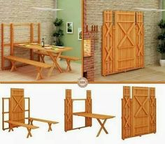 Fold out barn table