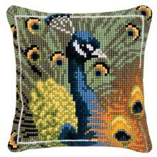 Peacock Framed Pillow Cover.  Thinking about trying needlepoint.