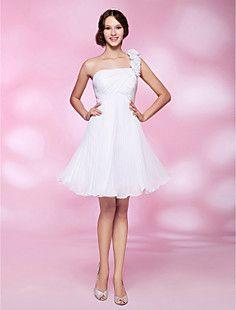 A-line One Shoulder Knee-length Chiffon Cocktail Dress  – USD $ 67.99