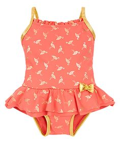 Baby Foil Flamingo Swimsuit | Pink | Monsoon