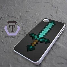 Minecraft Green Mint Sword iPhone 4|iPhone 4S Black Case
