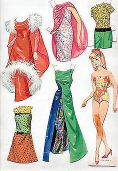 Antique (pre-1930) Vintage Mattel Barbie And Ken Cut-outs Paper Dolls 1962 Trifold Mostly Uncut