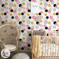Cute Dots removable wallpaper, Simple wall mural, Geometric wall decor, Reusable, Removable, Peel nad stick, Repositionable wallpaper MAF105