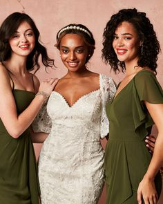 Beautiful olive green shades make for the perfect 2021 bridal party look! Try a spaghetti strap or flutter sleeve for an added touch! | #2021bridesmaiddresses #bridesmaiddresses #greenbridesmaiddresses #olivebridesmaiddresses | Style MS251243, F20319 & F20320 in Martini Olive | Shop these styles and more at davidsbridal.com Olive Green Bridesmaid Dresses, Bridal Fabric, Party Looks, Davids Bridal, Green Wedding, Green Shades, White Dress, Flutter Sleeve, Martini