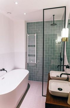 Design and production of a dream bathroom on the Bilderdijkkade in Amsterdam. We mixed vintage and modern elements to create a contemporary bathroom with unique pieces. Using a second-hand cabinet and vintage Glashütte Limburg lights with black faucets, a Contemporary Bathroom Designs, Bathroom Design Small, Bathroom Interior Design, Bath Design, Modern Vintage Bathroom, Modern Design, Contemporary Design, Modern Bathroom Lighting, Vintage Mirrors