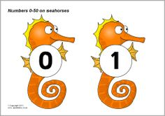 Numbers 0-50 on seahorses (SB5434) - SparkleBox