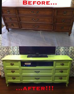 Refurbished dresser into tv stand! love the use of a bright color. Maybe teal?