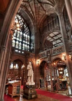 Victorian gothic architecture inside John Rylands Library in Manchester, England (by anti_limited).Victorian gothic architecture inside John Rylands Library in Manchester, England (by anti_limited). Gothic Architecture, Beautiful Architecture, Beautiful Buildings, Beautiful Places, Revival Architecture, Beautiful Library, Victorian Gothic, Kirchen, Barcelona Cathedral