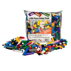 """Building Bricks - 1000 pc """"Big Bag of Bricks"""" Bulk Blocks with 54 Roof Pieces - Tight Fit and Compatible with Lego $40"""
