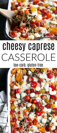 Cheesy Chicken Caprese Casserole Recipe (Low Carb + Gluten-Free + VIDEO) recipes and nutrition and drinks recipes recipes celebration diet recipes Pre Cooked Chicken, Cheesy Chicken, Rotisserie Chicken, Shredded Chicken, Casserole Dishes, Casserole Recipes, Steak Casserole, Hamburger Casserole, Honey Chipotle Chicken