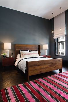east village apartment :: modern bedroom with pink accents