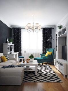 Small Living Room Design Ideas Apartment Therapy - home design Ikea Living Room, Living Room White, Living Room Sets, Living Room Interior, Blue And Mustard Living Room, Small Living Room Design, Small Living Rooms, Home And Living, Living Room Designs