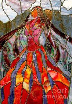 Pele Goddess of Fire by Marilynn Brandriff Hawaiian Hula Dance, Hawaiian Art, Hawaiian Quilts, Mosaic Glass, Glass Art, Art Is Dead, Glass Installation, Mosaic Crafts, Stained Glass Patterns