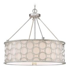 Savoy House Lighting Triona Silver Leaf Pendant Light with Drum Shade