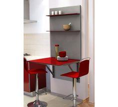 Mueble de cocina Single Viva compuesto por mesa abatible y plafón con baldas. Varios colores.