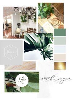 Verde Salon — Gretchen Kamp Green and beige mood board<br> Mood Board Inspiration, Color Inspiration, Moodboard Interior, Design Scandinavian, Nail Salon Decor, Green Interior Design, Suncatcher, Bussiness Card, Mood And Tone